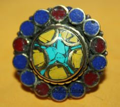 Nepalese Tibetan Coral Turquoise ring Lapis ring by goldenlines