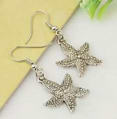 Antiqued Silver Pewter Puffed Dotted Starish Dangle Earrings 42mm Long #Handmade #DropDangle