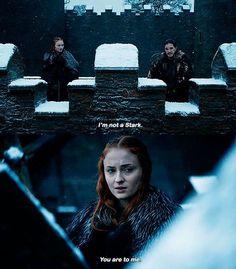 Not a Stark because of blood, but because of heart, Jon. #targaryen