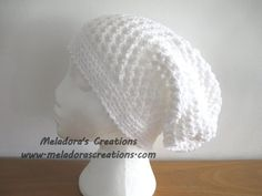 Butterfly Stitch Slouch Hat / Tam Hat - White