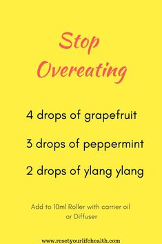 Essential Oil Recipe to Stop Overeating. Eliminate your desire to eat by using Doterra Oils. Either by roller or diffuser, this recipe mix will decrease your appetite. Weightloss Essential Oils mix will help you lose weight by suppressing your appetite. Essential Oils For Headaches, Essential Oils Guide, Essential Oil Diffuser Blends, Essential Oil Uses, Mixing Essential Oils, Essential Oils For Depression, Essential Oils For Sleep, Doterra Essential Oils, Sixpack Workout