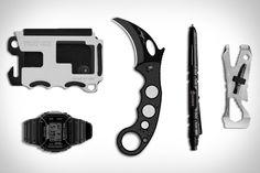 Trayvax Aluminum Wallet ($25). N.H. x G-Shock Watch ($163). Emerson Karambit Knife ($249). Leatherman Piranha Pocket Tool ($24). Gerber Tactical Pen ($34)....