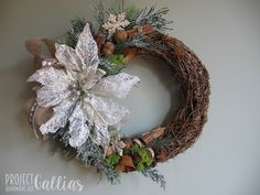 Project Gallias,  Christmas wreath with Poinsettia flower, bells etc.