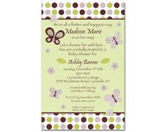 CoCaLo Sugar Plum Butterfly & Flowers Digital Girl Baby Shower Invitation - You Print - Green, Purple. $12.99, via Etsy.