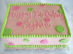 Adventures in Savings: Pink & Green Sheet Cakes for 1st and 80th Birthdays