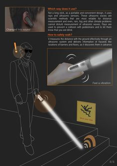 Eye Stick reinvents the traditional cane. It uses ultrasonic waves to reliably measure distance, unaffected by rain, fog, or other climate problems. Projected light is used to prevent collisions with other pedestrians. Futuristic Technology, Technology Gadgets, Tech Gadgets, Assistive Technology, Gnu Linux, Cool Paper Crafts, Cool Tech, Lightsaber, Design Reference