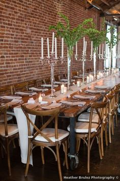 Wedding table decor ideas - candles, greenery, rustic, modern, industrial, wood, fall {Heather Brulez Photography} Modern Industrial, Rustic Modern, Ideas Candles, Wedding Place Settings, Centerpieces, Table Decorations, Greenery, Real Weddings, Wedding Photos