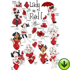 Lady in Red 1 Embroidery Design Collection   Download