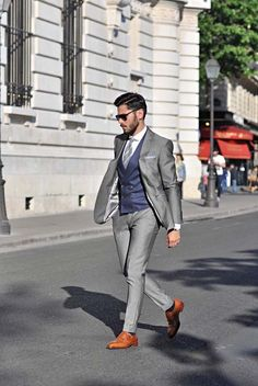 "the-suit-man: ""Suits, mens fashion and summer style inspiration for men Mens Fashion Suits, Mens Suits, Grey Suit Men, Blue Suit Grey Waistcoat, Grey Suit Brown Shoes, Grey Blue Suit, Light Grey Suits, Gray, Terno Slim"