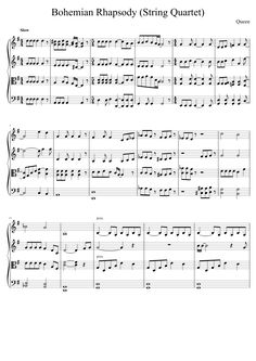 Free violin sheet music. Bohemian Rhapsody for string quartet.