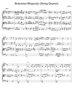 Free violin sheet music. Bohemian Rhapsody for string quartet.
