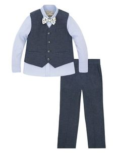 558c04fac Complete with striped shirt, waistcoat, trousers and a bowtie printed with  sweet little boats