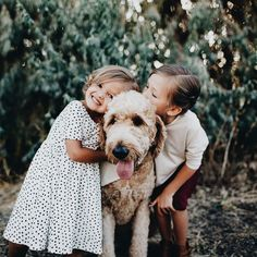 happy girls with dog