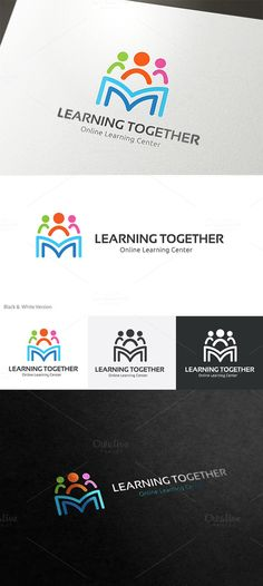 Learning together by super pig shop on logos, typography logo, logo branding Typography Logo, Art Logo, Logo Branding, Branding Design, Library Logo, Education Logo Design, Web Design, Creative Design, Learning Logo