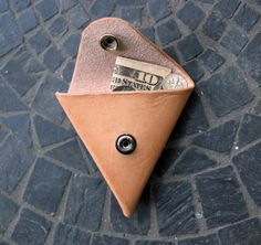 Triangle Snap Leather Coin Pouch / Vegetable by GuardedGoods