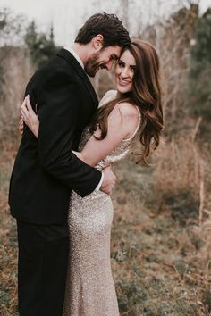 A shimmery gold dress is guaranteed to add glamour to your engagement photos | Image by Kellsworth Photography