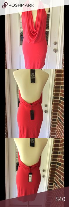 "New BCBG maxazria ""Veda"", low-back cowl- neck ,WTG BCBG maxazria Veda dress ,new with tags open back, size medium , cowl. neck ,71% rayon,29%polyester. BCBGMaxAzria Dresses Mini"