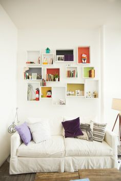Quirky: The Airbnb office goes for a white sofa under brightly coloured pictures White Room Decor, White Rooms, White Walls, White Bedroom, Girls Bedroom, Bedroom Ideas, Bedrooms, Airbnb Office, Living Room Decor Pictures