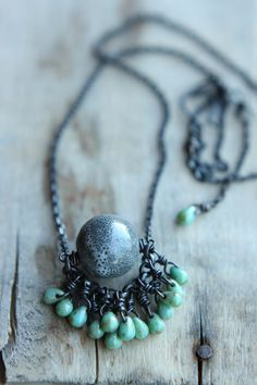 Oxidized Raw Copper Necklace With Blue/Grey Ceramic Focal And Accent Pistachio Czech Glass Tears