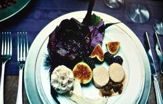 Hannibal dish: Cold Foie Gras Torchon with Late Harvest Vidal Sauce, Dried Figs, Warm Fresh Figs, and Blackberries