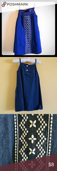 Beautiful denim 18-24 month dress Such a great dress. Falls to right below the knee so it won't interfere with those wobbly steps. Gorgeous design on the front. 2 buttons on the back. I wish they didn't have to grow up! 😇 Crazy 8 Dresses Casual
