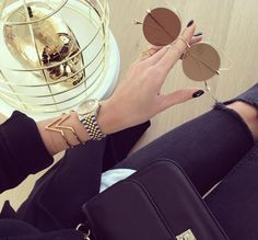 Myla gold chevron cuff paired perfectly with the new Dita Believer sunglasses.  Image from @sunglassavenue