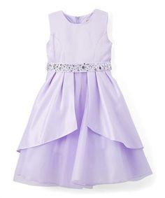 Lilac Satin Rhinestone-Accent Belted A-Line Dress - Girls #zulily #zulilyfinds