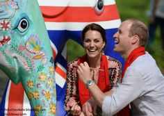 hrhduchesskate:  Royal Tour 2016, Day 4, Kaziranga, Assam, India, April 13, 2016-The Duke and Duchess of Cambridge added finishing touches to an elephant statue at the Kaziranga Discovery Centre, built by the Elephant Family charity founded by the late Mark Shand, brother of the Duchess of Cornwall