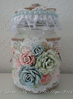 Altered Jar with handmade flowers