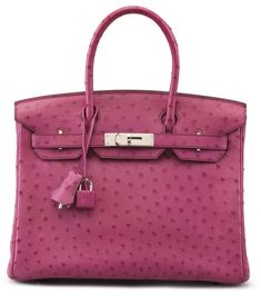 "A FUCHSIA OSTRICH BIRKIN 30 BAGHERMÈS, 2004Palladium Hardware, interior is Fuchsia Chevre Leather with one zip pocket and one slip pocket. Includes lock, keys and clochette.12"" W x 8½"" H x 6"" DBlindstamp H SquareStruthio Camelus, South African population"