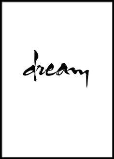 Schwarz-weißes Typografie-Poster. Schönes Poster mit der Aufschrift Dream.