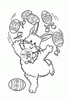 Funny Easter Bunny coloring page for kids, coloring pages printables free - Wuppsy.com