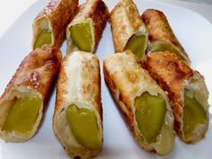 Toasted Frog's Cheesy Fried Pickles recipe! jar dill pickles -havarti cheese… Toasted Frog's Cheesy Fried Pickles recipe! jar dill pickles -havarti cheese package of egg roll wrappers -oil for frying Deep Fried Pickles, Fried Pickles Recipe, Egg Roll Wraps, Ham Wraps, Pickle Roll Ups, Pickle Wraps, Homemade Ham, Havarti Cheese, Pickled Eggs