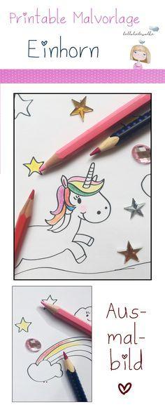Freebie und Printable! Ausmalbild Einhorn im Regenbogenland. Eine Malvorlage zum kostenlosen Download für Prinzessinnen im Märchenmodus. #DIY #Printable