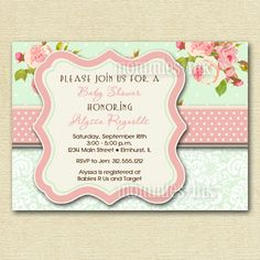 Shabby Chic Pink Roses and Mint Green Polka Dots Baby Shower Invite - PRINTABLE INVITATION DESIGN on Etsy, $12.50