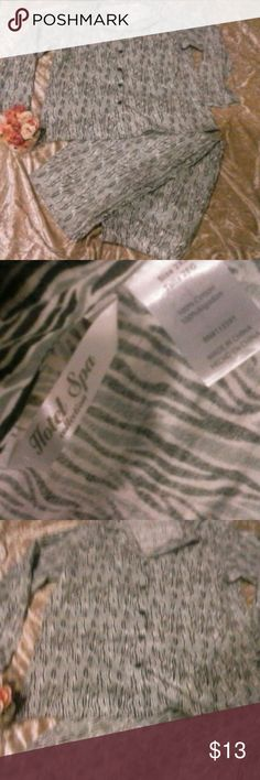 NWOT HOTEL SPA PJ Pajama Set Flannel 2X New without tags soft, comfy and warm flannel PJs. Machine washable 2 piece set button down top and pull up pants elastic waist. Color. white, black and grey print. Bundle & Save offers welcome Hotel Spa Intimates & Sleepwear Pajamas
