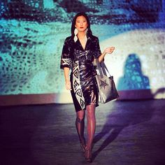 Drop dead #gorgeous! A snapshot from the Native couture fashion show in Cali! Designs by Pilar Agoyo!