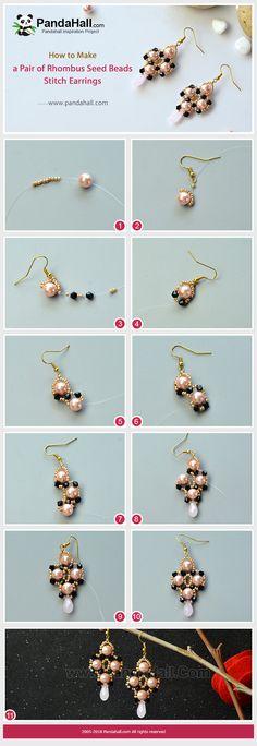 A pair of #handmadeearrings with #Beebeecraft #seedbeads and #pearl beads