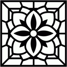 Silhouette Design Store - View Design square stained glass page frame Pattern Coloring Pages, Flower Coloring Pages, Mandala Coloring, Colouring, Stained Glass Designs, Stained Glass Patterns, Mosaic Patterns, Silhouette Clip Art, Silhouette Design