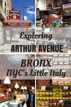 """Arthur Avenue in the Bronx in New York City is considered by many to be the """"real Little Italy"""". Italian restaurants, delicatessens, bakeries and meat and cheese shops make up the neighborhood. Here is our guide to Arthur Avenue in the Bronx. Little Italy New York, New York City Travel, Travel Reviews, Upstate New York, Travel Usa, Travel Europe, Italy Travel, Travel Destinations, New England"""