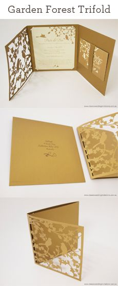 One of our favourite designs, the laser cut Garden Forest Trifold featured on our blog. http://www.classicweddinginvitations.com.au/laser-cut-trifold-garden-wedding-invitation/