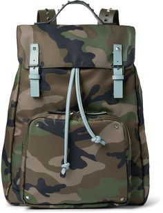 Valentino Leather-Trimmed Camouflage-Print Canvas Backpack