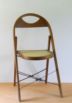 Vintage Wood And Metal Folding Chair Wooden By Lisabretrostyle2