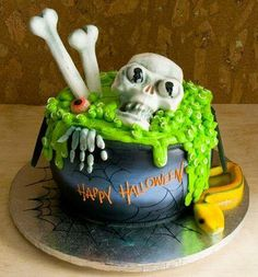Scary cake Halloween skeleton and RIP tombstone HALLOWEEN most