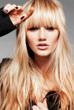 Bangs wavy hair, blonde bangs, long hair with bangs, messy bangs, b Bangs Wavy Hair, Long Hair With Bangs, Haircuts With Bangs, Long Hair Cuts, Blunt Bangs, Messy Bangs, Blonde Hair, Blunt Fringe, Thick Bangs