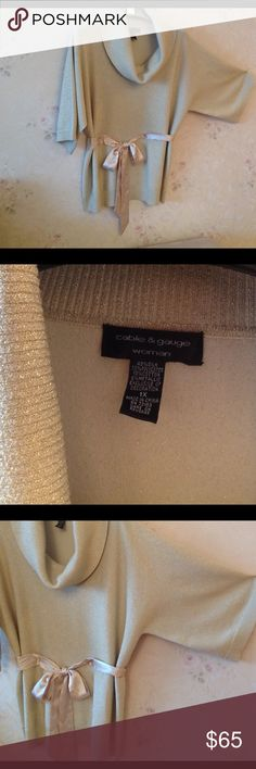 """Cable&Gauge gold sweater size 1X with soft belt Cable&Gauge gold sweater size 1X with soft tight silk belt. Dolman style sleeve 19"""" (with shoulder). Front from shoulder 30"""". Hips round 50"""". Sleeve bottom round 20"""". Worn once. Cable & Gauge Sweaters Crew & Scoop Necks"""