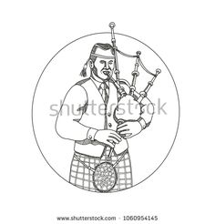 Doodle art illustration of a Scottish bagpiper playing bagpipes viewed from front set inside oval shape done in mandala style. Oval Shape, Doodle Art, Musicians, Mandala, Royalty Free Stock Photos, Illustration Art, Doodles, Shapes, Pictures