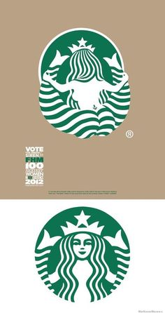 Very creative and humorous of the designer to give those of us who doesn't know what the Starbucks logo actually depicts, a little insight.