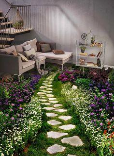 Floor Design, House Design, Small Yard Landscaping, Vinyl Doors, Beautiful Landscape Wallpaper, Small Balcony Decor, Floor Murals, Floor Wallpaper, Stone Path