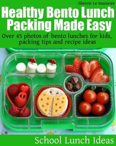 Healthy Bento Lunch Packing Made Easy: Over 45 photos of bento lunches for kids, packing tips and recipe ideas (School Lunch Ideas) by Sherrie Le Masurier, http://www.amazon.com/dp/B00DC0N6ME/ref=cm_sw_r_pi_dp_wJ.Urb1AQVH7D